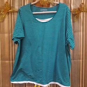 Teal and White strip top